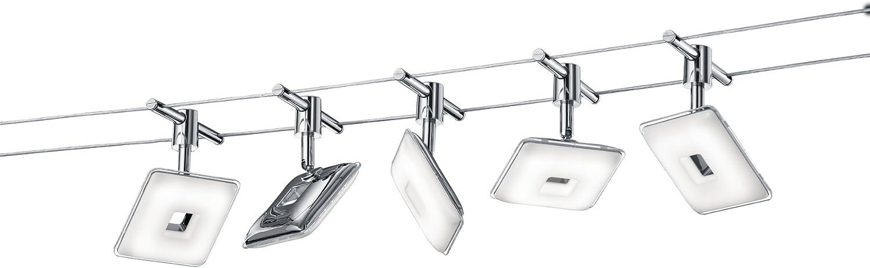 Trio Leuchten LED Seilsystem Pontius 775810506, Metall, Kunststoff chromfarbig   wei, 5 x 4.1 Watt