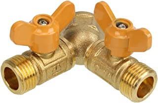 Mxfans 2 Way Gas Pipe Connector Splitter Solid Brass Y-Shape 1/2BSP Thread Joiner Connector