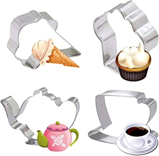 4 Piece Tea Party Cookie Cutter Set-Teapot Teacup Cupcake Icecream Stainless Steel Biscuit Cake Fondant Pancake Cutters