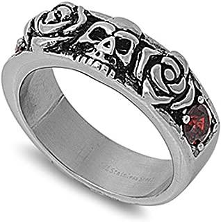 Men's Heavy Skull Rose Simulated Garnet Ring Stainless Steel Band USA 7mm Sizes 7-12