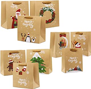 Lulu Home Christmas Gift Bags with Handle, 24 Pieces Kraft Bags with Assorted Christmas Prints, Xmas Gift Bags Large, Medium and Small for Gifts Wrapping