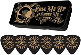 Official Willie Nelson Star Logo Picks with Roll Me Up And Smoke Me When I Die Tin Case