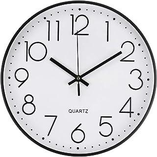 Jeteven 30cm Horloge Pendule Mural, Horloge Murale à Quartz, Horloge Silencieuse sans de Bruit avec Chiffres Surdimensionn...