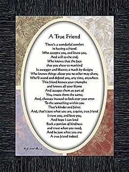 Vintage A True Friend Poem About True Friendship 7x9 77933CH