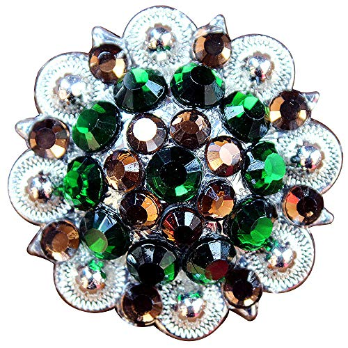 HILASON Set of 4 Screw Back Concho Brown Green Crystal 1-1/4In Bling Saddle