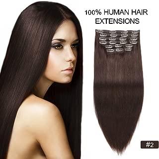 Clip on Extensions Dark Brown, Re4U 100 Human Hair 18