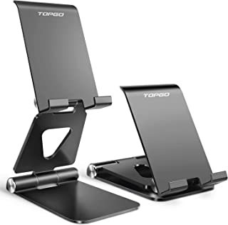Cell Phone Stand Holder Adjustable Increase Fully Foldable Thick Aluminum Desktop Cellphone Cradle Dock with Anti-Slip Bas...