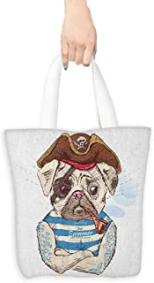 Canvas shopping bag,Pug Pirate Pug Conqueror of the Seas Pipe Skulls and Bones Hat Striped Sleeveless T Shirt,Organic Cotton Washable & Eco-friendly Bags,16.5