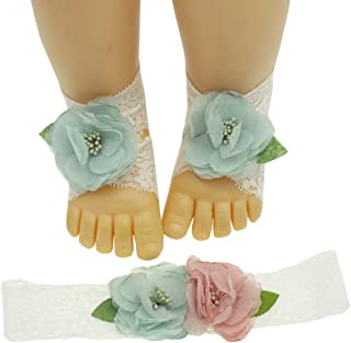 Newborn Photography Props Baby Girl Headband and Barefoot Sandals Set