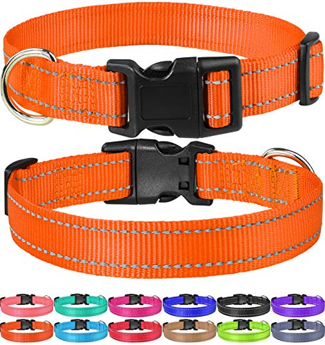 FunTags Reflective Nylon Dog Collar,Adjustable Pet Collars with Quick Release Buckle for Puppy Small Medium Large Dogs…