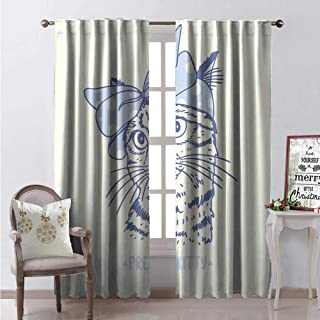Hengshu Bow Window Curtain Drape Silhouette of Cute Kitten Wearing Polka Dotted Wrap Hair Band Customized Curtains W72 x L108 Ba Blue Charcoal Grey and Ivory