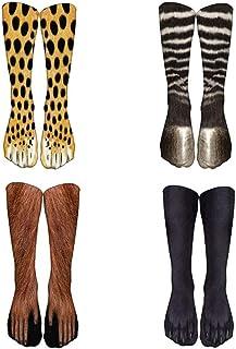 4 Pares De Nuevos Calcetines De Pata De Animal Con Impresión 3D Unisex Crew Stocks Largos Calcetín Elástico Y Transpirable Pata De Cebra De Leopardo