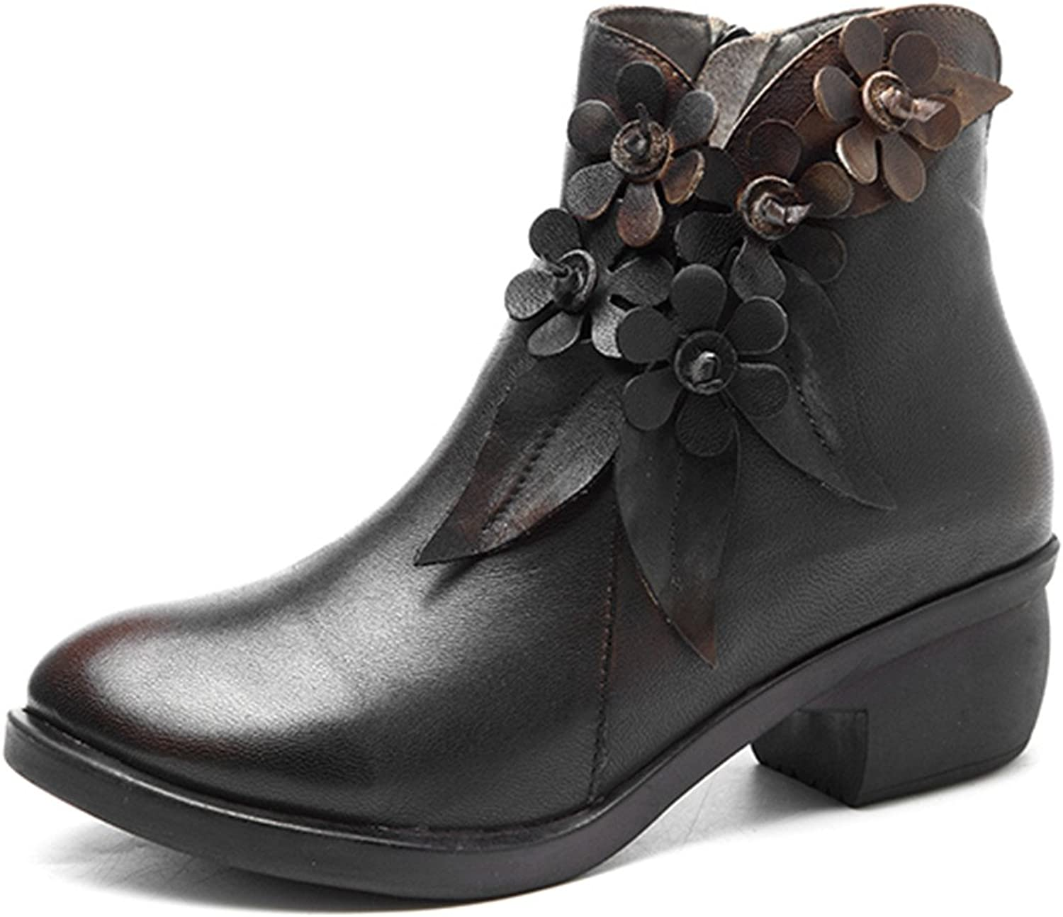 Socofy Leather Ankle Bootie, Women's Vintage Handmade Fashion Leather Boot pink Floral shoes Oxford Boots Dark Grey 9 B(M) US