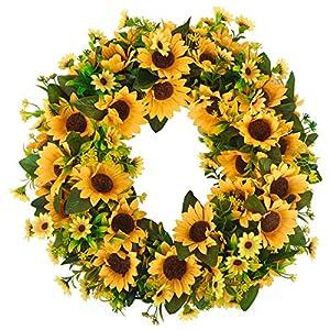 HANTAJANSS Artificial Sunflower Wreath, Large Sun Flower Greenery Garland for Door Decoration, Summer Home Decor 16 inches Yellow