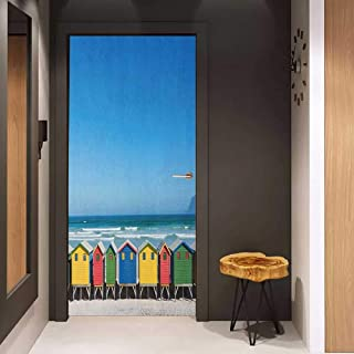Door Sticker Travel Colorful Bathhouses at Muizenberg Cape Town South Africa Standing in a Row Touristic Glass Film for Home Office W38.5 x H79 Multicolor
