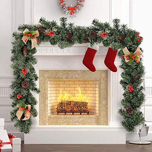 HOMEDAI 1.8M Christmas Garlands for Fireplaces Stairs Artificial Wreaths Tree Decoration with Berries Pinecones Burlap Bowknots for Wedding Party Indoor Outdoor Christmas Decor