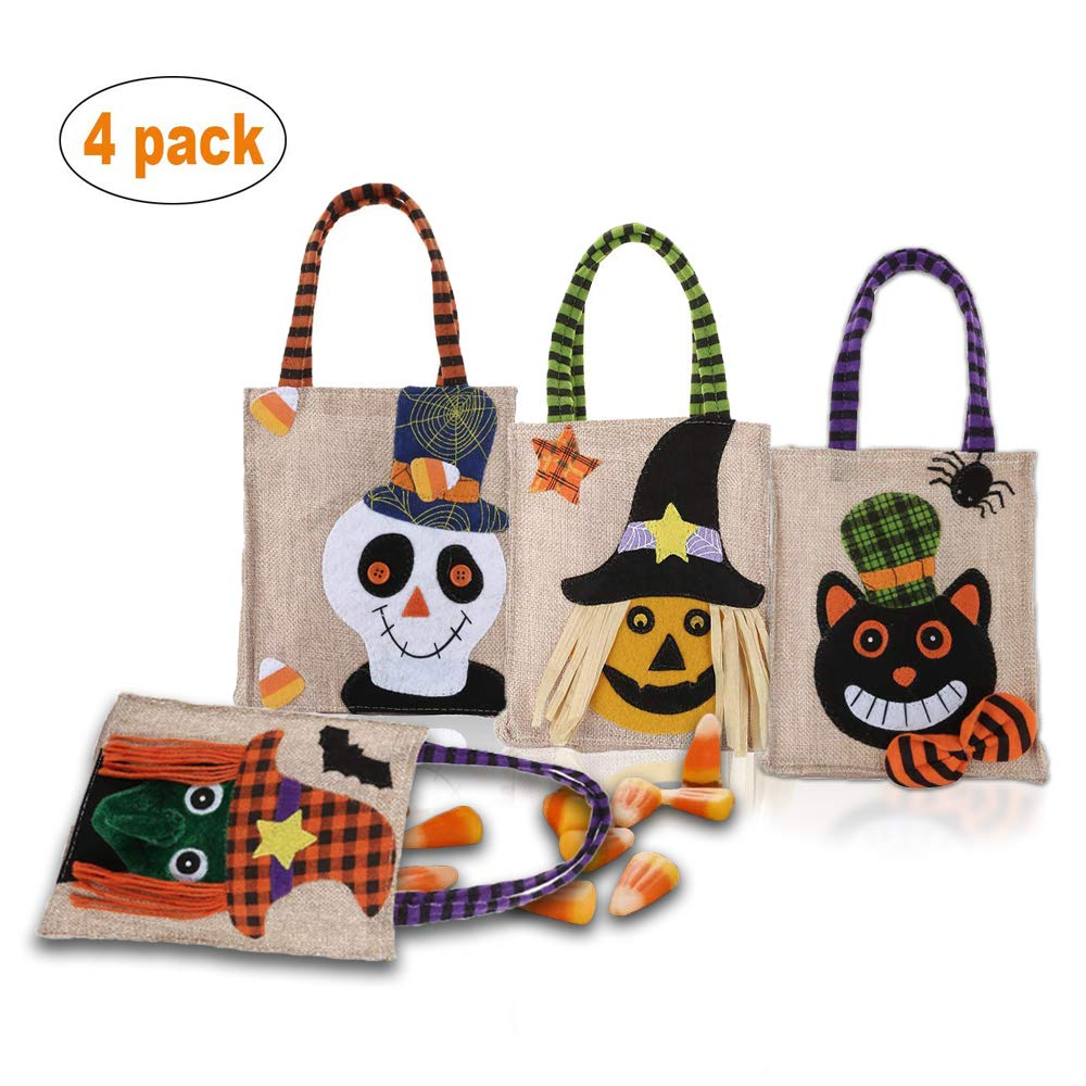 할로윈 트릭 오어 트릿 토트백 세트 (4개 구성) Xflyee Halloween Tote Bag Reusable Trick or Treat Bag Pumpkin Candy Bags Trick or Treat Goody Bag