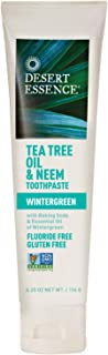 Desert Essence Tea Tree Oil & Neem Toothpaste - 6.25 Oz - Refreshing Rich Taste - Baking Soda & Essential Oil of Wintergreen - Antiseptic - All Natural Ingredients - Fluoride & Gluten Free