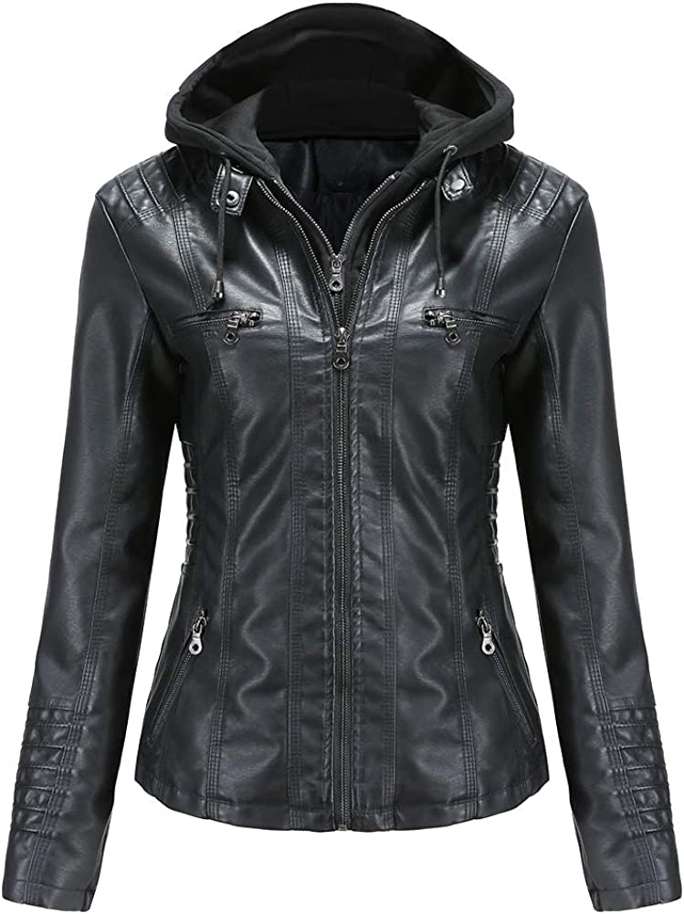 Tagoo Faux Leather Jacket Women Motorcycle Coat for Biker with Removable Hood Plus Size Fall Clothes