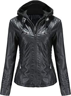 Women's Faux Leather Jacket Motorcycle Coat for Biker with Removable Hooded