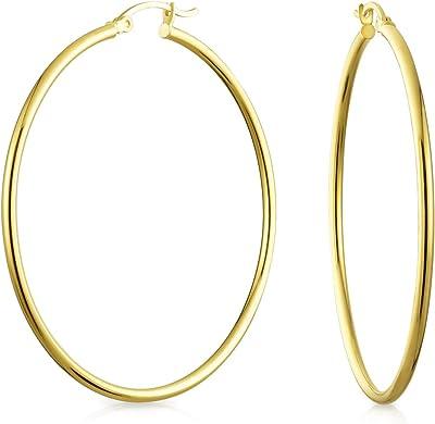 Semplici orecchini a cerchio minimalista 14K real yellow gold per donna thin tube style leggero 2 pollici Dia