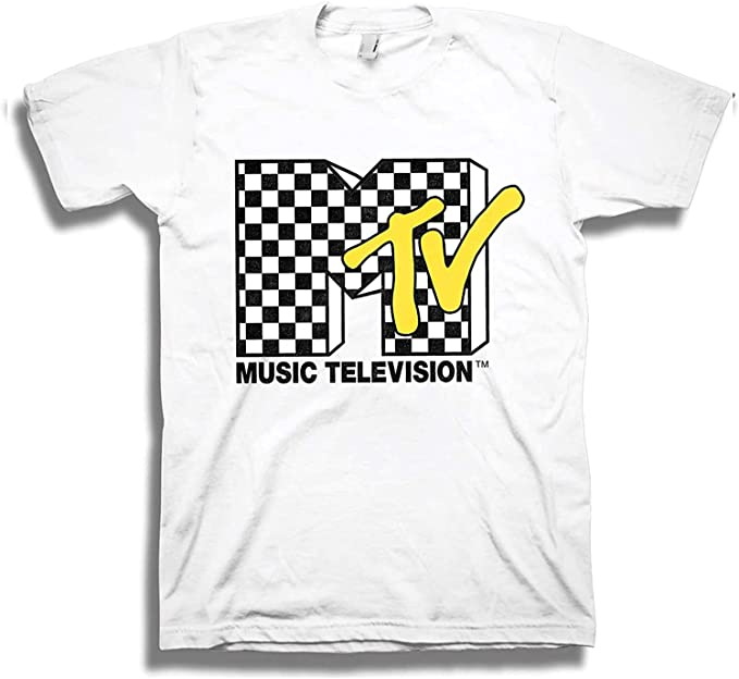 80s Men's Clothing   Shirts, Jeans, Jackets for Guys MTV Mens Shirt with Checkerboard - #TBT Mens 1980s Clothing - I Want My T-Shirt  AT vintagedancer.com