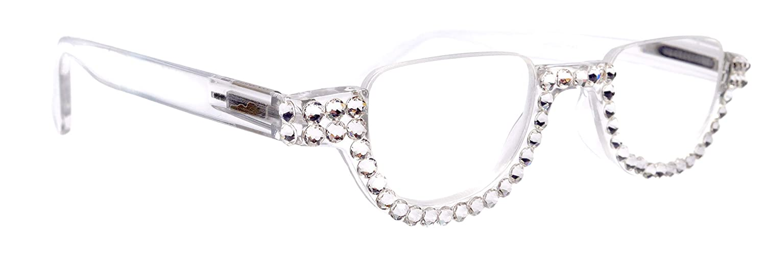 New product! New type The Half Moon Clear Translucent Ad New Free Shipping Reading Women Bling Glasses