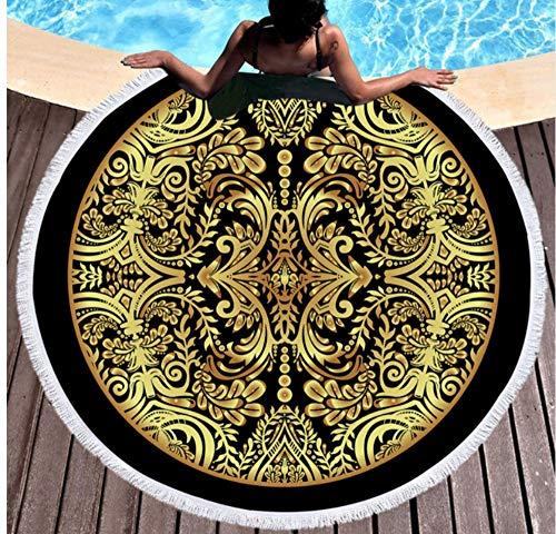 Vanzelu Microvezel Zwarte Strandhanddoek Rond 150x150cm Gedrukt Goud Tapijt Blauw Zachte Badhanddoek Voor Volwassen Picknick Yoga Mat Thuis Decor Deken Outdoor
