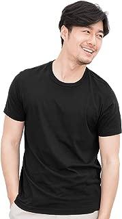 Zengjo White/Black Tagless Crew Neck Plain T Shirts for Men