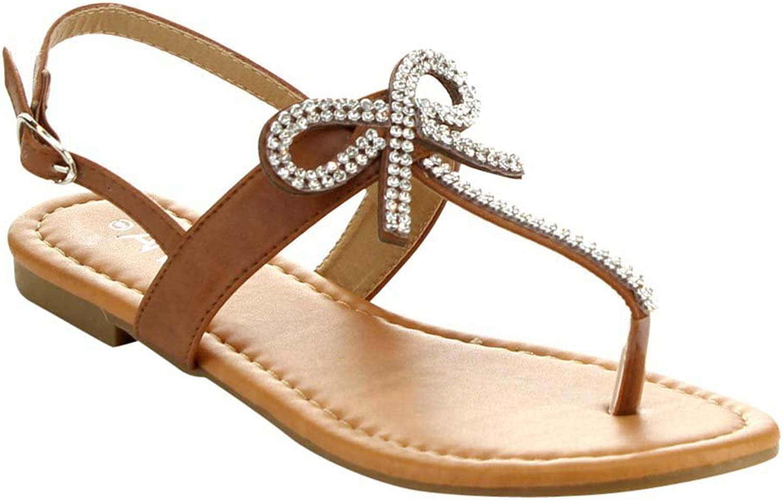 Anna Adriana-32 Women Sweet Sling Back T-Strap Flat Thong Sandal W Rhinestone Bow