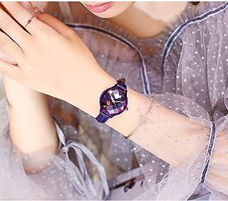 Diamond Starry Sky Quartz Watches for Women, Crystal Dial Leather Strap Wristwatch,Purple