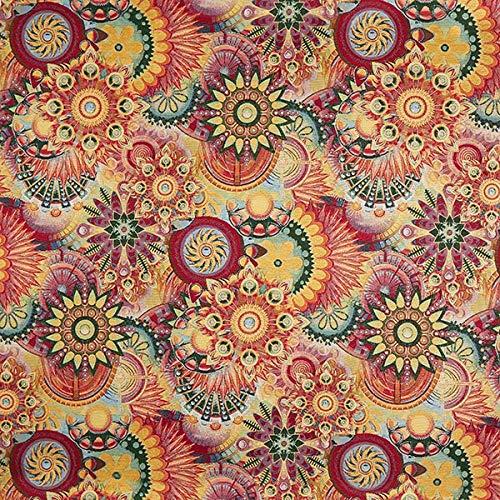 Fabulous Fabrics Jacquard Gobelin Blüten Ornament – lila/rot — Meterware ab 0,5m — zum Nähen von Dekoration, Tagesdecken und Tischdecken