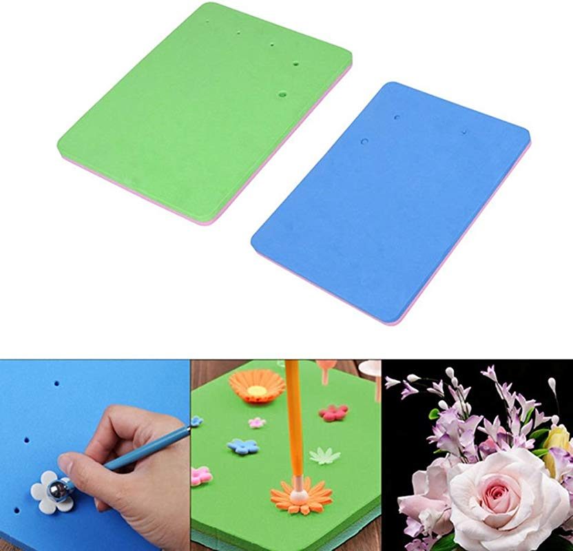 2 Pcs Fondant Foam Pad 5 Holes Silicone Sponge Mat Paste Sugar Flower Gum Chocolate Clay Modelling Tools Drying Tray By EORTA For Sugarcraft Cake Decoration Handmade DIY Random Color