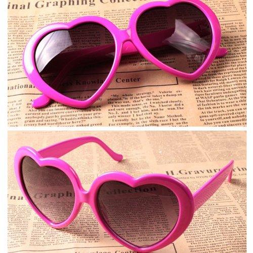 Nouveau cœur d'amour style cadre plastique lentilles rétros lunettes de soleil(Peche)