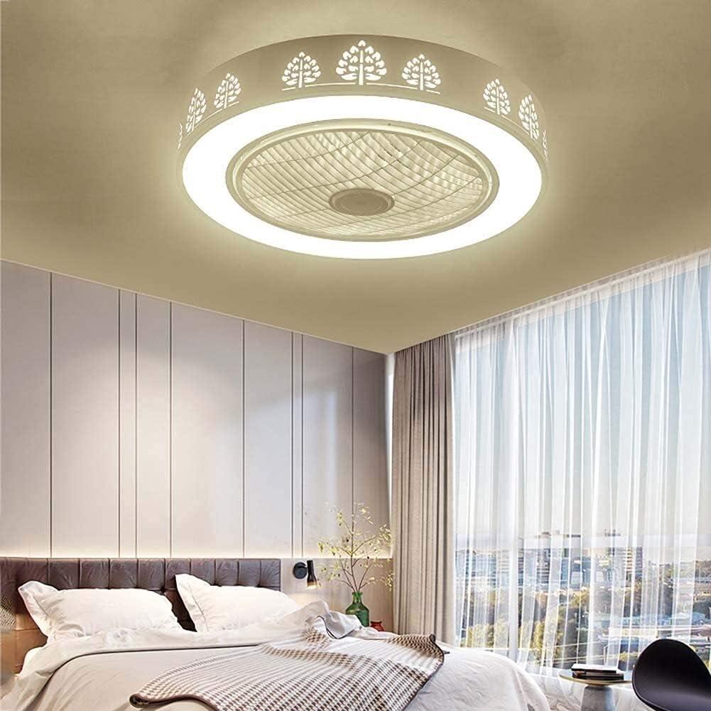 MAMINGBO Ventilador de techo LED con kit de luz, lámpara de techo redonda de montaje de descarga regulable moderna, accesorio de luz de ventilador LED integrado con control remoto para la habitación /