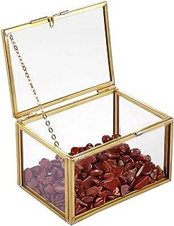 SUNYIK Vintage Decorative Jewelry Box for Women Men, Golden Glass Lidded Box with Natural Chip Stone Organizer Storage Trinket Display Case for Home, Jasper
