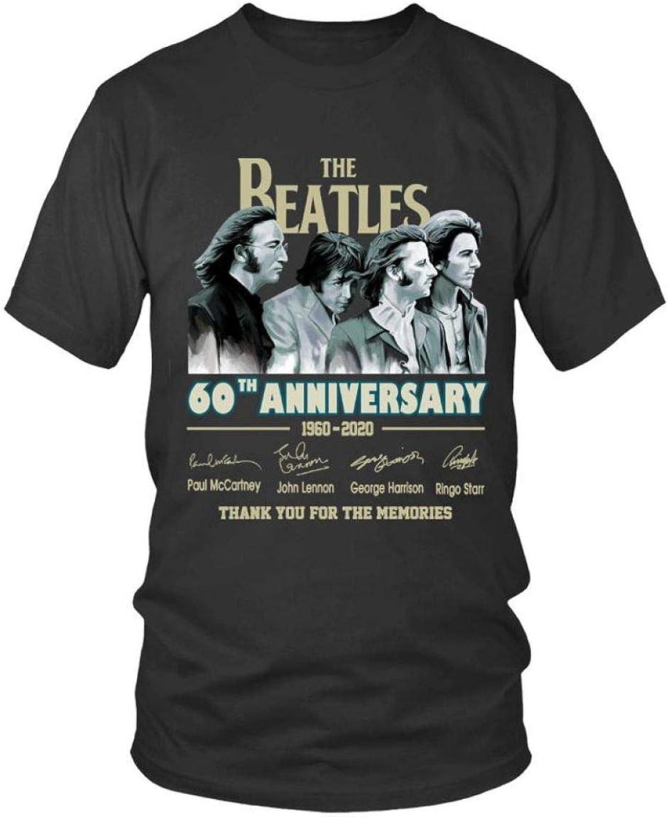 The Beatles 60th Anniversary 1960-2020 Members Unisex Black T-shirt Size S-3XL