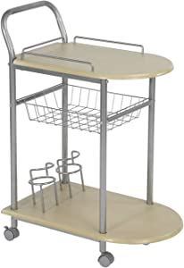 HomyCasa Trolley Cart with Wheels Dining Room Service Rolling Cart Wooden Storage Kitchen Island,Two Wine Racks,Beech