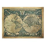 enFen Vintage Old World Map Canvas Wall Tapestry with 6 Hooks Wall Hanging Decor 48X36 Inches
