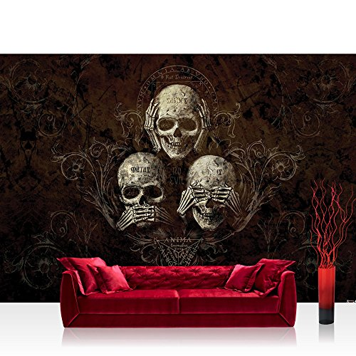 Fototapete 368x254 cm PREMIUM Wand Foto Tapete Wand Bild Papiertapete - Ornamente Tapete Alchemy No Evil Ornamente Totenkopf Ranke No Evil Blumen braun - no. 2326