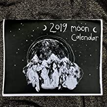 2019 Moon Calendar- Black and White Astrological Lunar Wall Calendar Moon Phase Cycles Original line Drawings by Amara Hollow Bones