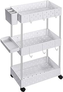 SONGMICS Chariot de rangement sur roulettes, Étagère mobile 3 niveaux, Étagère de salle de bain, avec 6 crochets, 1 platea...
