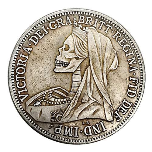 Qihuyi Moneda de Plata con Calavera de dólar de Plata, Moneda de Plata con Espada de Caballo, Moneda de Plata Redonda de 1900, Moneda Conmemorativa, Moneda Conmemorativa Antigua RARA