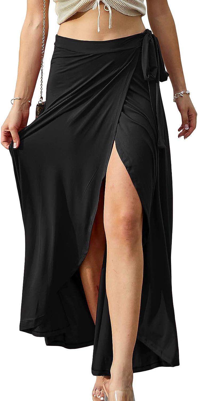 Doublju Womens Waist Strap Tie Up Point Long Skirt