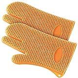 Rosenstein & Söhne Ofenhandschuhe: 2er-Set Silikon Hitzeschutzhandschuhe (Backofenhandschuhe)