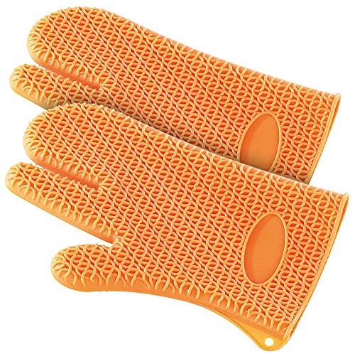 Rosenstein & Söhne Backofenhandschuhe: 2er-Set Silikon Hitzeschutzhandschuhe (Backofenhandschuhe Silikon)