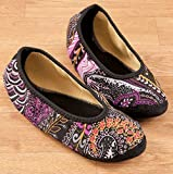 NuFoot Fuzzies Ballet Flats Women's Shoes, Foldable & Flexible Flats, Slipper Socks, Travel Slippers & Exercise Shoes, Dance Shoes, Yoga Socks, House Shoes, Indoor Slippers, Paisley, Medium