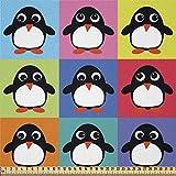 ABAKUHAUS Pinguin Stoff als Meterware, Bunte Rahmentiere,