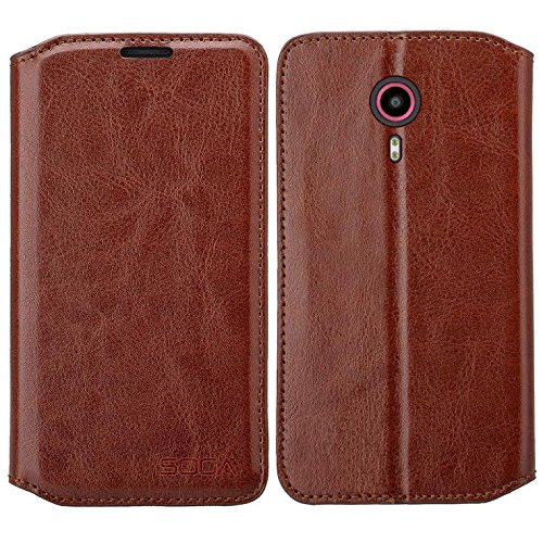 Galaxy Wireless Compatible for ZTE Ultra (N817) Case, ZTE Quest Case, ZTE Uhura Wallet Case, Luxury Leather Case Flip Cover with Card Slots Stand for ZTE Ultra/Uhura/Quest, Brown Leather