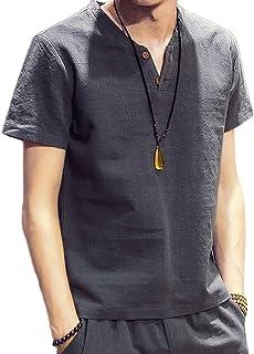 Tシャツ 綿麻 半袖 リネンシャツ ヘンリーネック 無地 5カラー M -4XL メンズ